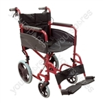 Compact Transport Aluminium Wheelchair - Colour Red