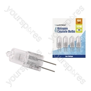 4pc Blister Card  G4 10w 12v Halogen Capsule Bulb