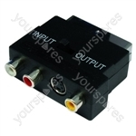 Scart To 3 Phono + Svhs Sockets + Reverse Switch