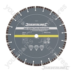 Laser-Welded Turbo Diamond Blade - 300 x 20mm Castellated Segmented Rim