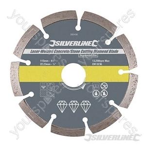 Laser-Welded Concrete & Stone Cutting Diamond Blade - 115 x 22.23mm Segmented Rim