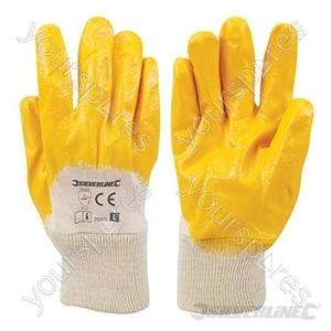 Open Back Interlock Nitrile Gloves - Large