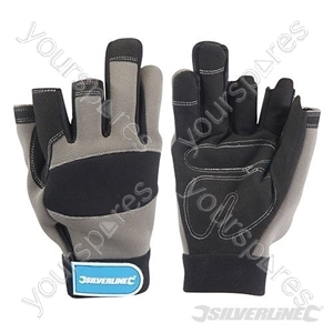 Part Fingerless Mechanics Gloves - Large