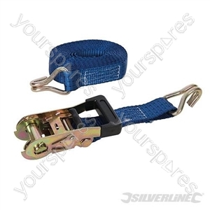 Rubber-Handled Ratchet Tie Down Strap J-Hook 6m x 38mm - Rated 1000kg Capacity 2750kg