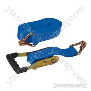 Rubber-Handled Ratchet Tie Down Strap J-Hook 8m x  50mm - Rated 1300kg Capacity 3950kg