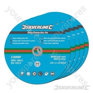 Stone Cutting Discs Flat 5pk - 230 x 3 x 22.23mm