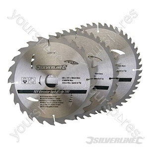 TCT Circular Saw Blades 24, 40, 48T 3pk - 205 x 30 - 25, 18, 16mm rings