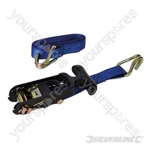 Rubber-Handled Ratchet Tie Down Strap J-Hook 3m x 38mm - Rated 400kg Capacity 1000kg