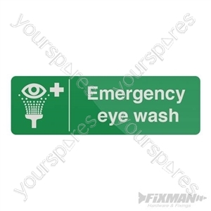 Emergency Eye Wash Station Sign - 300 x 100mm Self-Adhesive
