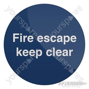 Fire Escape Keep Clear Sign - 100 x 100mm Self-Adhesive