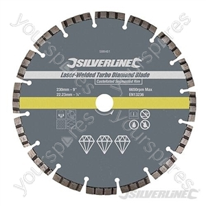 Laser-Welded Turbo Diamond Blade - 230 x 22.23mm Castellated Segmented Rim