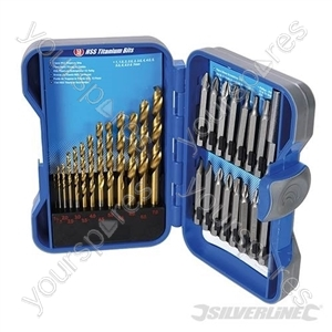 Titanium-Coated HSS Drill Bit & CRV Screwdriver Bit Set 29pce - 29pce