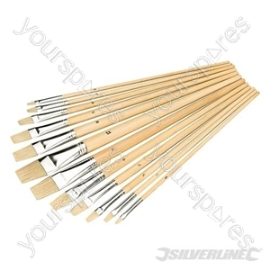 Artists Paint Brush Set 12pce - Flat Tips