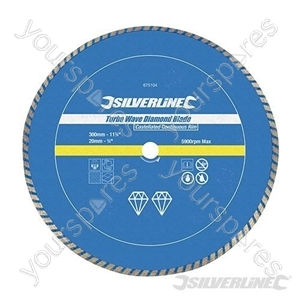 Turbo Wave Diamond Blade - 300 x 20mm Castellated Continuous Rim