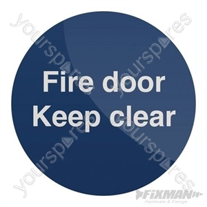 Fire Door Keep Clear Sign - 100 x 100mm Self-Adhesive