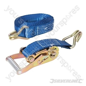 Ratchet Tie Down Strap J-Hook 6m x 38mm - Rated 750kg Capacity 1950kg