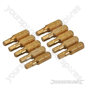 Hex Gold Screwdriver Bits 10pk - Hex 4mm