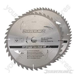 TCT Circular Saw Blades 40, 60T 2pk - 300 x 30 - 25, 20, 16mm rings