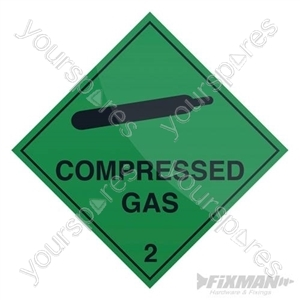 Compressed Gas Sign - 100 x 100mm Self-Adhesive