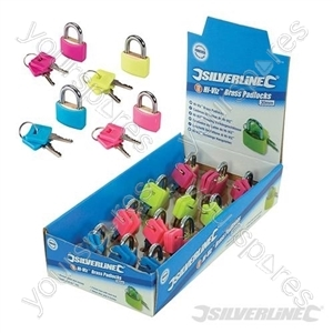 Hi-Vis Brass Padlocks Display Box 12pce - 30mm