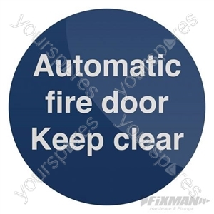 Automatic Fire Door Sign - 100 x 100mm Self-Adhesive