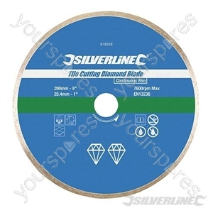 Tile Cutting Diamond Blade - 200 x 25.4mm Continuous Rim