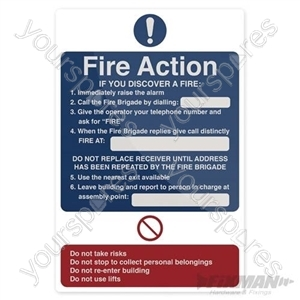 Fire Action If You Discover Sign - 200 x 300mm Self-Adhesive