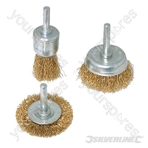 Brassed Steel Wire Wheel & Cup Brush Set 3pce - 3pce