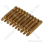 Pozidriv 50mm Gold Screwdriver Bits 10pk - PZ1