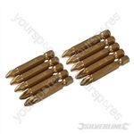 Pozidriv 50mm Gold Screwdriver Bits 10pk - PZ2
