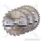 TCT Circular Saw Blades 20, 24, 40T 3pk - 190 x 30 - 25, 20mm Rings