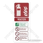Water EN3 Extinguisher Sign - 202 x 82mm Rigid