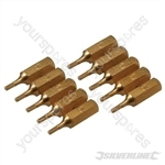 Hex Gold Screwdriver Bits 10pk - Hex 2mm
