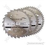 TCT Circular Saw Blades 24, 40, 48T 3pk - 210 x 25 - 20, 16mm rings