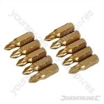 Pozidriv Gold Screwdriver Bits 10pk - PZ1