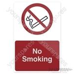 No Smoking Sign - 200 x 300mm Rigid