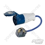 13A-16A Fly Lead Converter - 13A Plug to 16A Socket