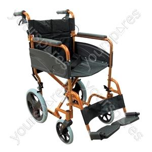 Compact Transport Aluminium Wheelchair - Colour Orange