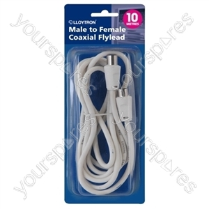 10m Coaxial Flylead - Plug to Socket (Male to Female) - White