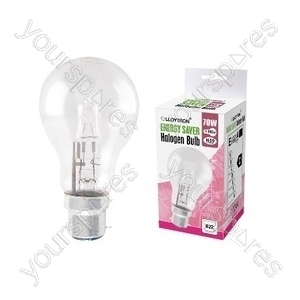 GLS B22 70w 240v Halogen Incandescent Bulb