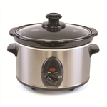 KitchenPerfected 1.5Ltr Mini Oval Slow Cooker - Brushed Steel