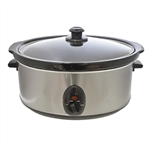 KitchenPerfected 6.5Ltr Oval Slow Cooker - Brushed Steel