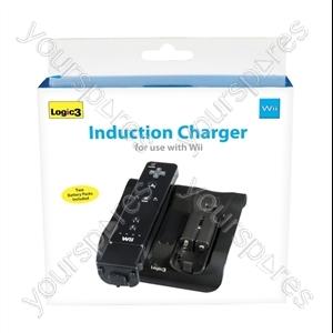 Wii Induction Charger & 2 Batt Packs(bk)