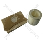 Karcher Wet & Dry Vacuum Cleaner Dust Bags x 5 and Filter Set x 1