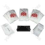 Miele Vacuum Cleaner 15 x Dust Bags and Filters MULTIPACK FJM Type (Red Collar)