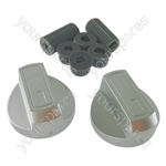 Universal Silver Control Knobs Toaster Trouser Press Camping Stove Hob x 2